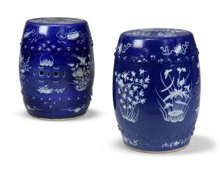 A NEAR PAIR OF CHINESE COBALT-BLUE AND WHITE GARDEN SEATS