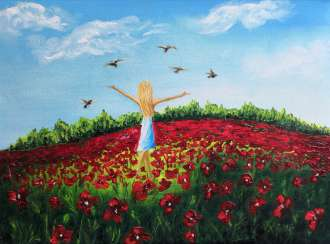 Little Girl Art Color field painting Pigeon painting Blue sky horizons floral field red flower painting