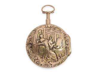 Pocket watch: a Museum, a large Golden Friedberger double housing-spindle pocket watch with eighth repetition, and 2-colored Repousségehäuse, Johann Georg Wagner from Friedberg (London), CA. 1740