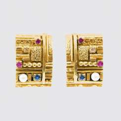 Pair of Gold clip earrings with gemstones