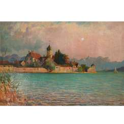 LÖFFLER, FRANZ (Pettenreuth 1875-1955 water castle) 'a view on the Peninsula of Wasserburg'.