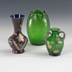 3 vases with silver paint, CARL GOLDBE