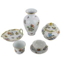 HEREND Rothschild bird 5-piece group of vessels, 20. Century