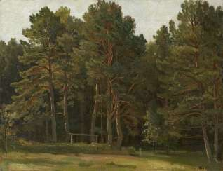 SHISHKIN, IVAN (1832-1898) Pine Forest Clearing , signed with initials.