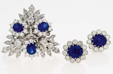 Sapphire and diamond-Set: brooch and earrings