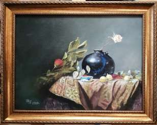 """Still life with a rose in a blue vase""."