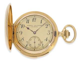 Pocket watch: heavy and high fine gold savonnette minute repeater, Marious Lecoultre Geneve No. 3956, CA. 1904