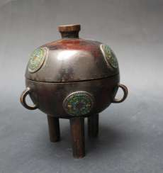 Asian Bronze vessel on three legs, with cloisonné enamel, Ming Dynasty