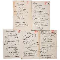 Five-page manuscript by Hitler for his Nazi party rally speech to the political leaders on September 10, 1937