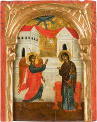 LARGE-FORMAT ICON WITH THE ANNUNCIATION OF THE MOTHER OF GOD FROM A CHURCH ICONOSTASIS Greece