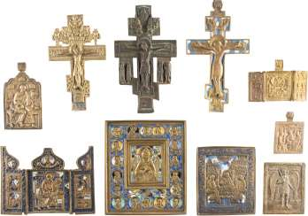 THREE CRUCIFIXES, TWO TRIPTYCHA AND FIVE BRONZE ICONS