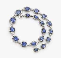 Entourage necklace with azure blue sapphires and diamonds, Germany, 1970s