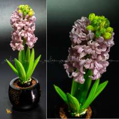 "Composition from colored glass ""Pink hyacinth"" -5"