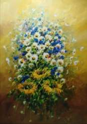 Bouquet of cornflowers, daisies and sunflowers