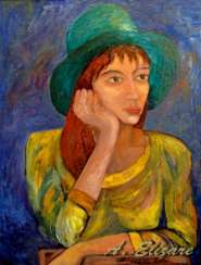 Portrait of a girl in a green hat