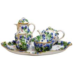 Meissen 5-Part Core Piece Coffee & Tea Rich Forget-Me-Not Decor, circa 1850