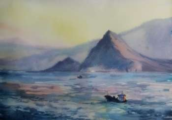 "Seascape with a boat ""Awakening"""
