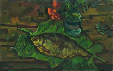 """Still life with fish on leaves"""