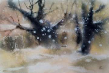 Winter landscape with trees watercolor