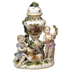 Meissen Urn Vase with Two Cherubs by Kaendler Model 1009 Made circa 1830-1940