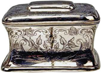 S O L D !!!  Austrian Silver Sugar Box like Chest with Key, circa 1900