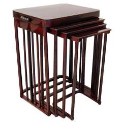 J & J Kohn Art Nouveau Set of Side Tables Josef Hoffmann Mahogany Stained ca. 1900