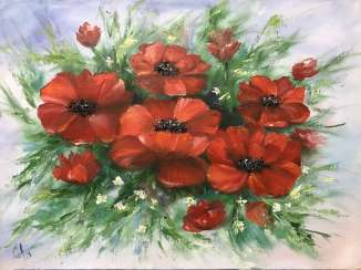 Bouquet of red poppies
