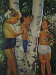 Girls by the birch