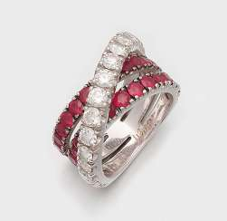 Crossover Ring with rubies and brilliant-cut diamonds by Wempe