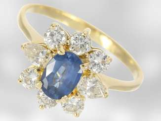 Ring: fine vintage sapphire/diamond flower ring, approx 1,45 ct