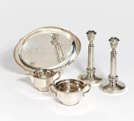 Pair of candlesticks & tray with sugar bowl and milk jug