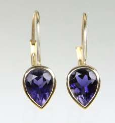 Earrings with Orissa Iolite 375 yellow gold