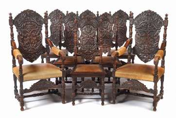 Set of 8 historicism chairs around 1870