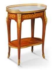 A FRENCH ORMOLU-MOUNTED MAHOGANY, PINE AND STAINED FRUITWOOD MARQUETRY OCCASIONAL TABLE