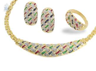 Ring/earrings/necklace: modern and very decorative Italian jewelry Set with different color stones and diamonds