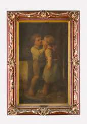 Emil Pirchan (1844-1929) -attributed two children oil on canvas signed upper left framed on the reverse paper labels
