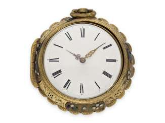 Pocket watch: rare, interesting clock watch with quarter hour self strike, Daniel De St. Leu of London No. 17958, for the Ottoman market, probably around 1800