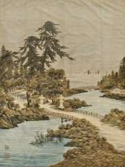 Large silk velvet curtain with a depiction of the landscape