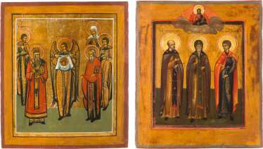 TWO PATRONAL ICONS WITH SELECTED SAINTS