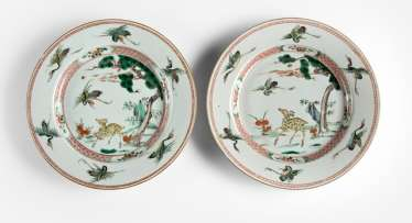 Pair of plates with 'Famille verte'decoration of crane and deer