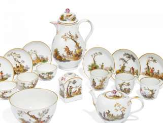 Coffee and tea service with hunting scenes