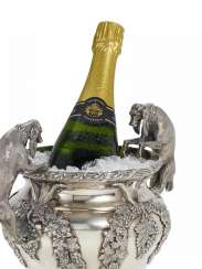 A magnificent champagne cooler with dogs