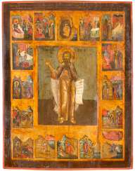 MONUMENTAL AND RARE ICON OF THE PROPHET ELIAS, AND 16 SCENES OF HIS VITA
