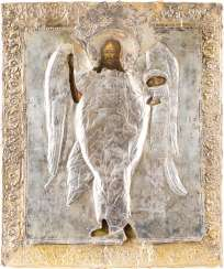 A BIG ICON WITH JOHN THE FORERUNNER, ANGEL OF THE DESERT WITH SILVER OKLAD