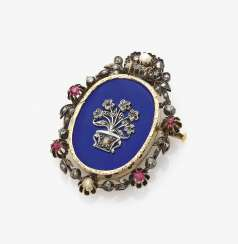 Brooch with diamonds, rubies, emeralds and enamel