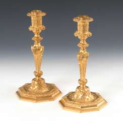 Pair of gold plated signed bronze lamp