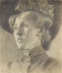 PUTZ, LEO. Portrait of a lady with hat