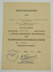Badge wounded, 1939, Black a certificate for a Top paymaster on the staff of the 95 infantry Division - 24. May 1945.