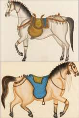 Two large silk pictures with horses