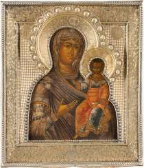ICON OF THE MOTHER OF GOD OF SMOLENSK (SMOLENSKAYA) WITH VERMEIL-RIZA
